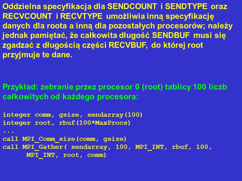 Składnia procedur MPI_GATHER w C i Fortranie 77: MPI_GathervMPI_Gatherv(void* sendbuf, int sendcount, MPI_Datatype sendtype, void* recvbuf, int *recvcounts, int *displs, MPI_Datatype recvtype, int root, MPI_Comm comm) MPI_GATHERVMPI_GATHERV(SENDBUF, SENDCOUNT, SENDTYPE, RECVBUF, RECVCOUNTS, DISPLS, RECVTYPE, ROOT, COMM, IERROR) SENDBUF(*), RECVBUF(*) INTEGER SENDCOUNT, SENDTYPE, RECVCOUNTS(*), DISPLS(*), RECVTYPE, ROOT, COMM, IERROR recvcounts - tablica zawierająca liczbę elementów danych przyjmowanych od poszczególnych procesorów displs - tablica zawierająca przesunięcia porcji danych przyjmowanych od poszczególnych procesorów w buforze przyjmującym.