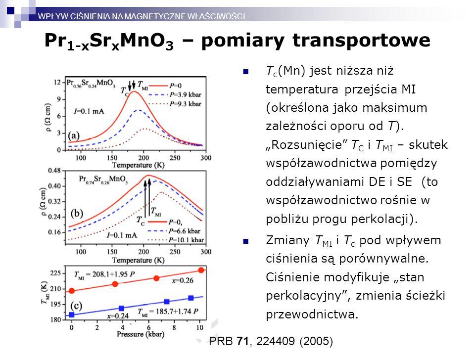 Pr 1-x Sr x MnO 3 – pomiary transportowe T c (Mn) jest niższa niż temperatura przejścia MI (określona jako maksimum zależności oporu od T).