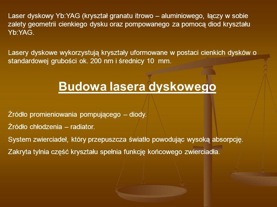 Laser dyskowy Yb:YAG (kryształ granatu itrowo – aluminiowego, łączy w sobie zalety geometrii cienkiego dysku oraz pompowanego za pomocą diod kryształu
