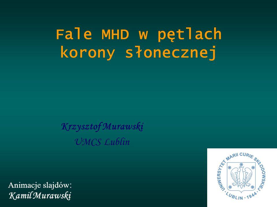 Krzysztof Murawski UMCS Lublin Fale MHD w pętlach korony słonecznej Animacje slajdów : Kamil Murawski