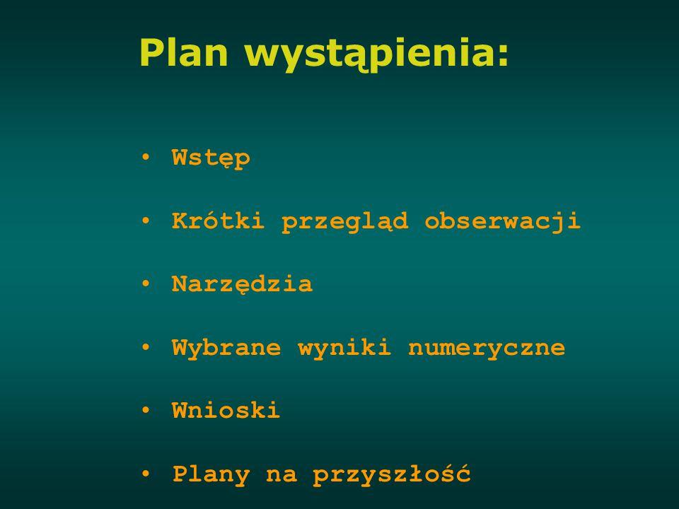 Plan wystąpienia: Wstęp Krótki przegląd obserwacji Narzędzia Wybrane wyniki numeryczne Wnioski Plany na przyszłość