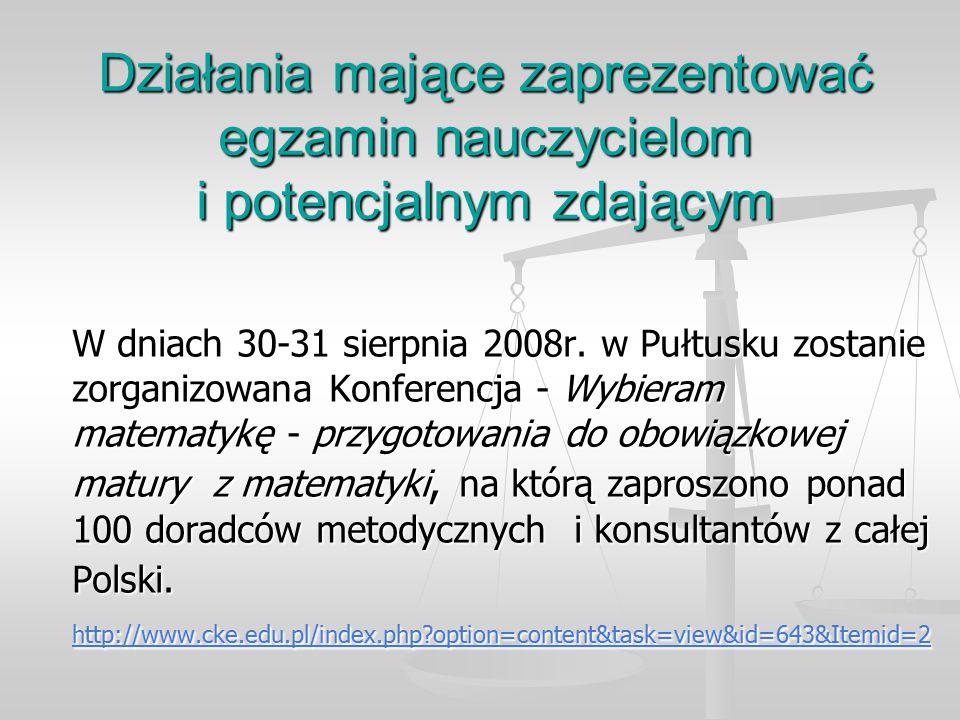 Działania mające zaprezentować egzamin nauczycielom i potencjalnym zdającym W dniach 30-31 sierpnia 2008r.