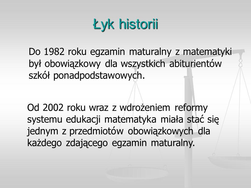 Łyk historii Do 1982 roku egzamin maturalny z matematyki był obowiązkowy dla wszystkich abiturientów szkół ponadpodstawowych.