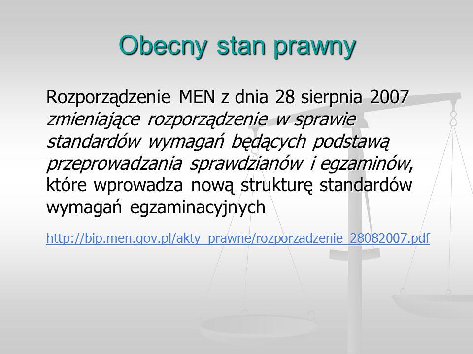 Obecny stan prawny Rozporządzenie MEN z dnia 28 sierpnia 2007 zmieniające rozporządzenie w sprawie standardów wymagań będących podstawą przeprowadzania sprawdzianów i egzaminów, które wprowadza nową strukturę standardów wymagań egzaminacyjnych http://bip.men.gov.pl/akty_prawne/rozporzadzenie_28082007.pdf