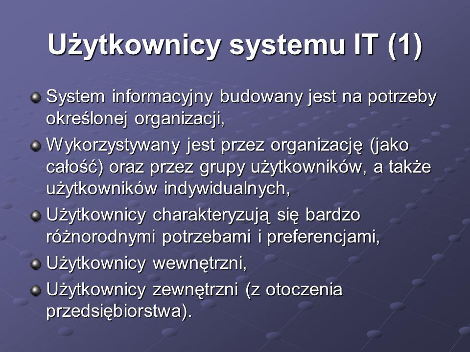 Użytkownicy systemu IT (1) System informacyjny budowany jest na potrzeby określonej organizacji, Wykorzystywany jest przez organizację (jako całość) oraz przez grupy użytkowników, a także użytkowników indywidualnych, Użytkownicy charakteryzują się bardzo różnorodnymi potrzebami i preferencjami, Użytkownicy wewnętrzni, Użytkownicy zewnętrzni (z otoczenia przedsiębiorstwa).