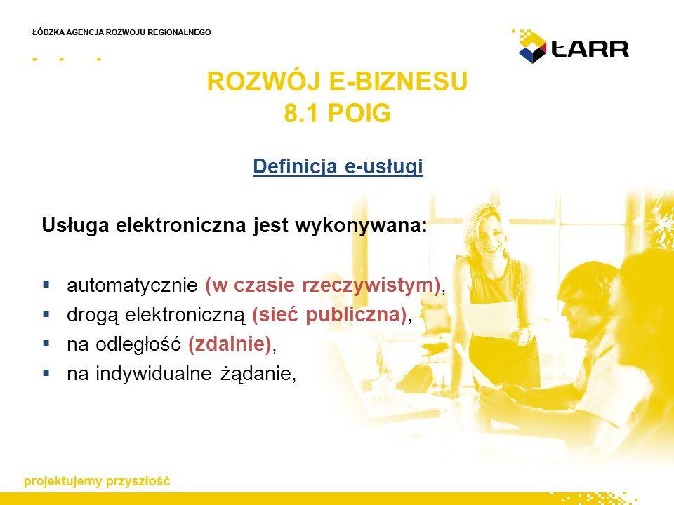 Definicja e-usługi Usługa elektroniczna jest wykonywana:  automatycznie (w czasie rzeczywistym),  drogą elektroniczną (sieć publiczna),  na odległość (zdalnie),  na indywidualne żądanie, ROZWÓJ E-BIZNESU 8.1 POIG