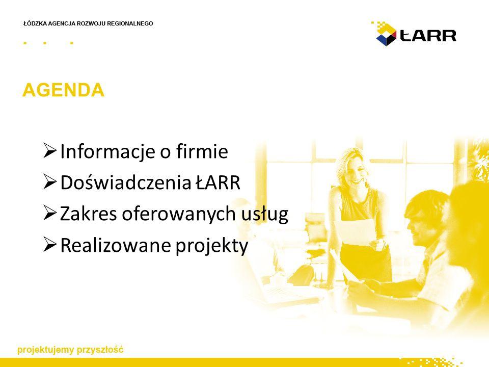 AGENDA  Informacje o firmie  Doświadczenia ŁARR  Zakres oferowanych usług  Realizowane projekty