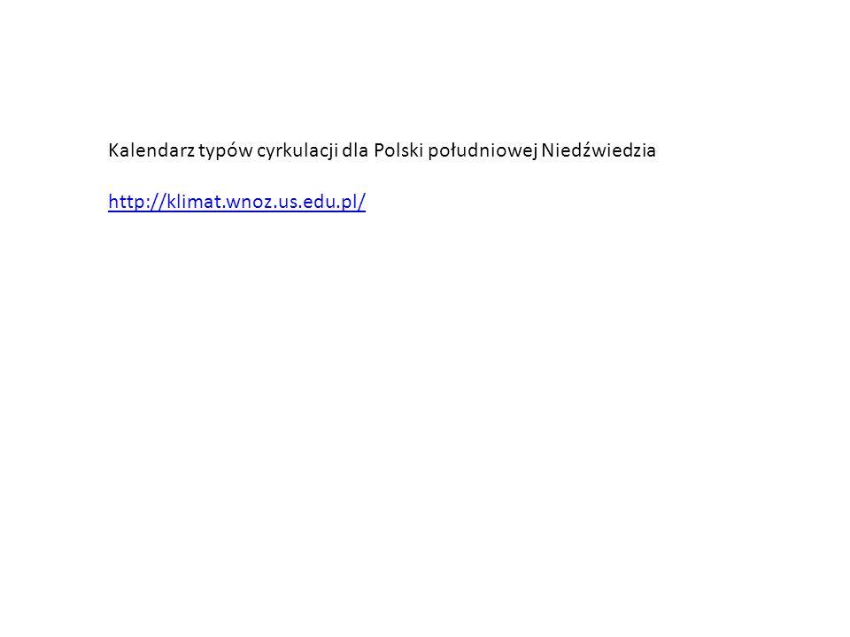 Kalendarz typów cyrkulacji dla Polski południowej Niedźwiedzia http://klimat.wnoz.us.edu.pl/