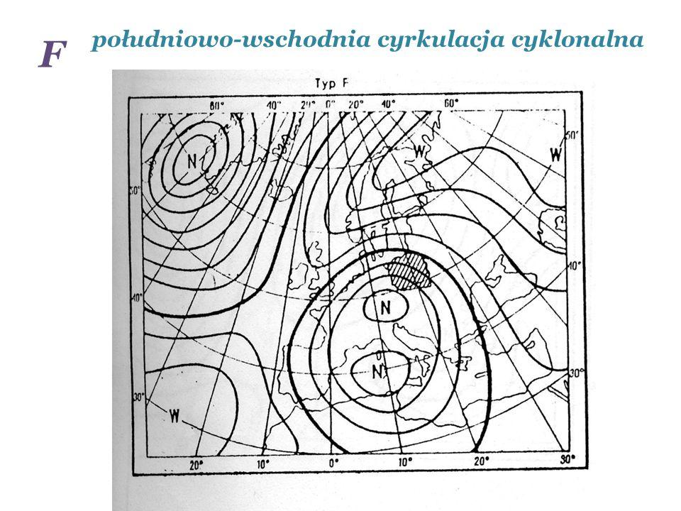 południowo-wschodnia cyrkulacja cyklonalna F
