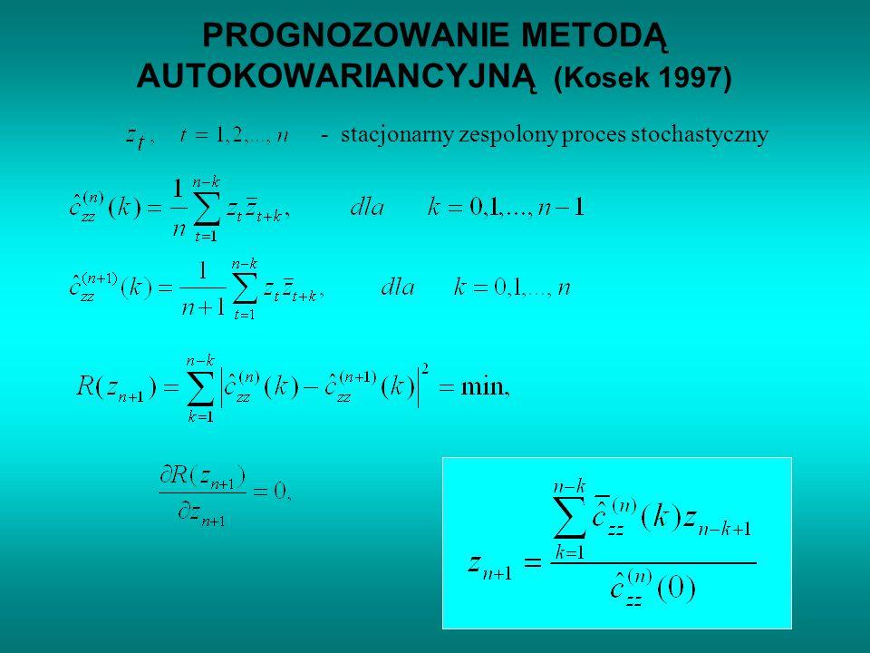 Zastosowane metody prognozowania: 1) Least-squares (LS) 2) Autocovariance (AC) ( Kosek 1997 ) 3) Autoregressive (AR) ( Barrodale I.
