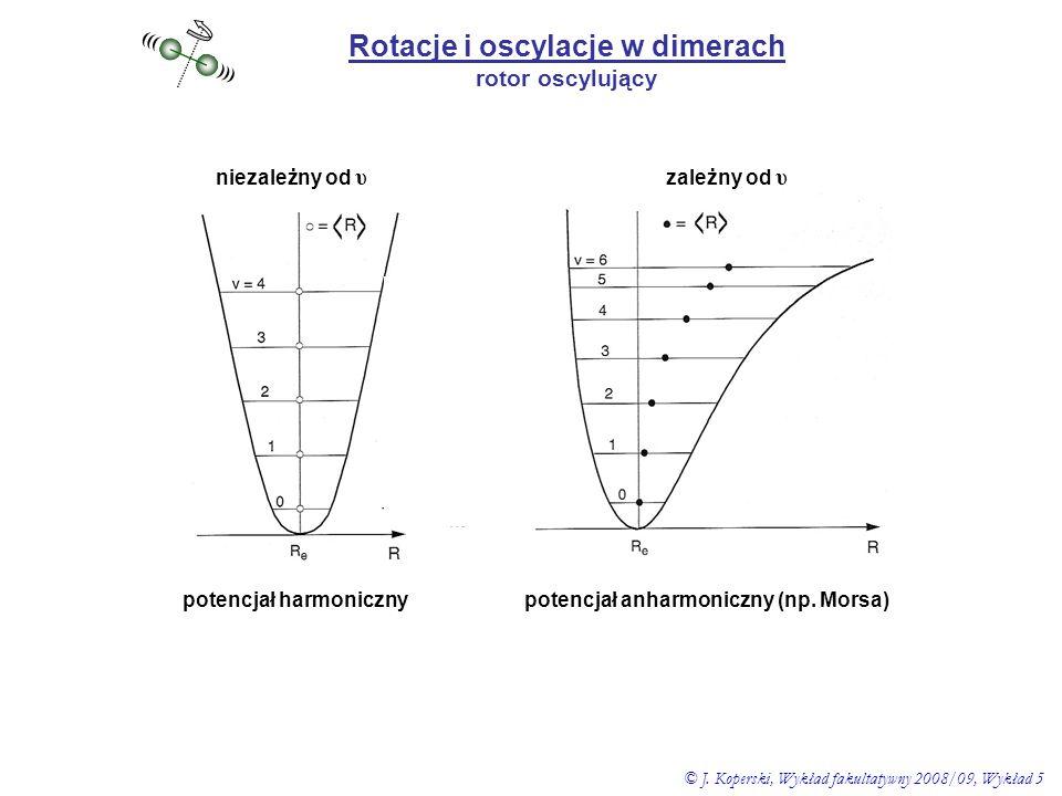 Rotacje i oscylacje w dimerach rotor oscylujący ((( ))) potencjał harmonicznypotencjał anharmoniczny (np. Morsa) niezależny od υ zależny od υ © J. Kop