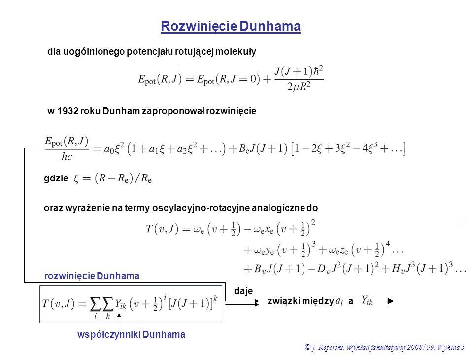 Rozwinięcie Dunhama dla uogólnionego potencjału rotującej molekuły gdzie w 1932 roku Dunham zaproponował rozwinięcie oraz wyrażenie na termy oscylacyj