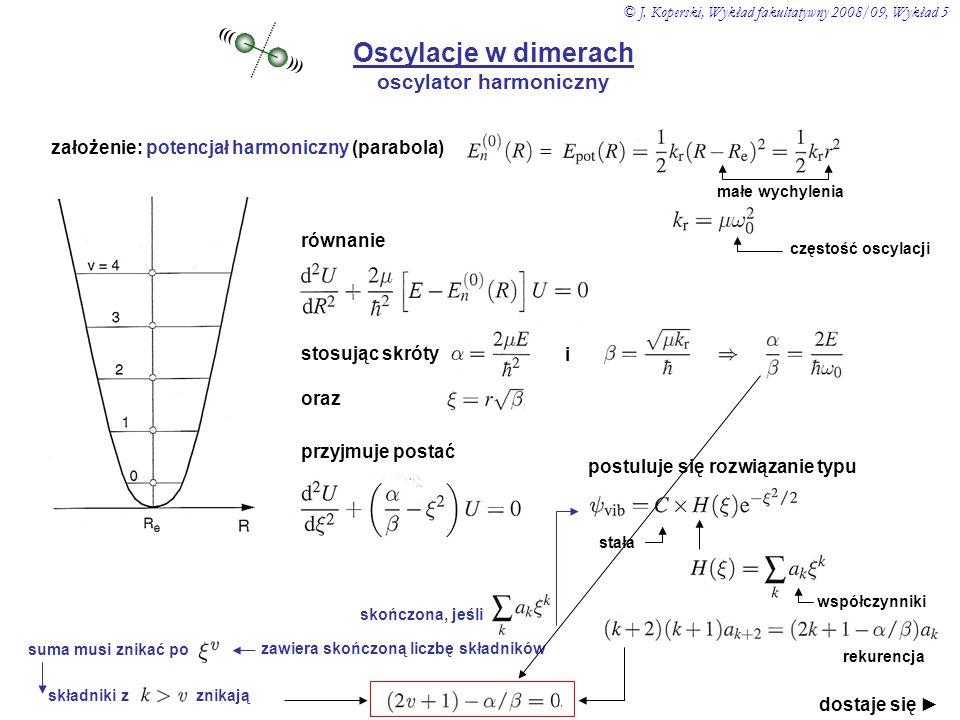 Oscylacje w dimerach oscylator harmoniczny ((( ))) założenie: potencjał harmoniczny (parabola) = małe wychylenia częstość oscylacji równanie stosując