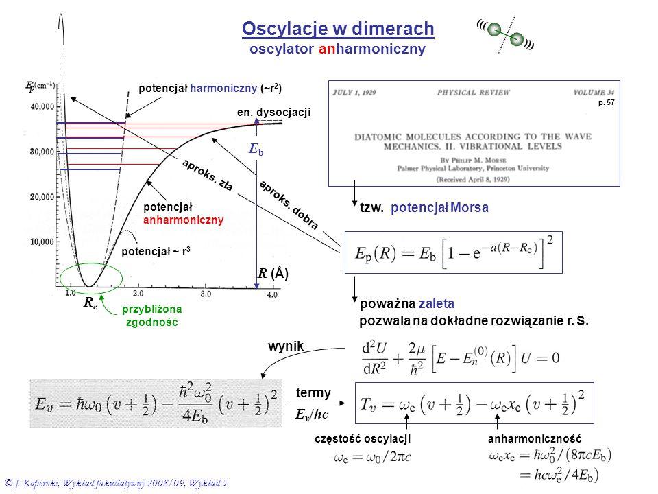 Oscylacje w dimerach oscylator anharmoniczny ((( ))) potencjał harmoniczny (~r 2 ) potencjał anharmoniczny potencjał ~ r 3 en. dysocjacji p. 57 tzw. p