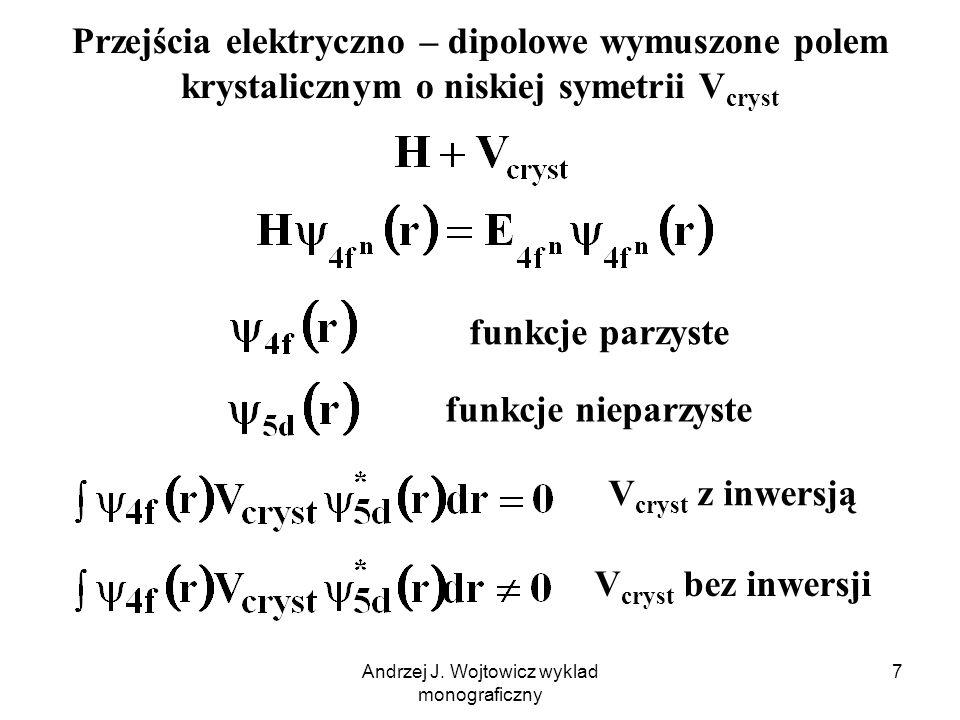 Andrzej J.Wojtowicz wyklad monograficzny 8 Pole krystaliczne V cryst może modyfikować f.