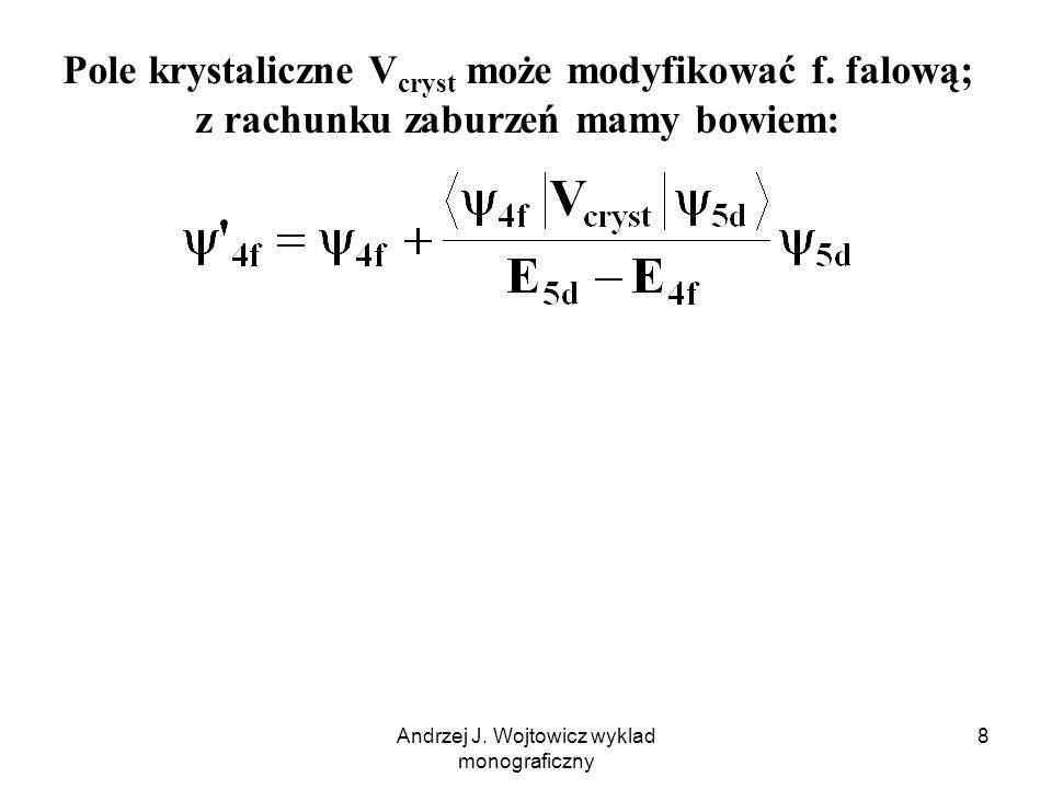 Andrzej J. Wojtowicz wyklad monograficzny 8 Pole krystaliczne V cryst może modyfikować f.