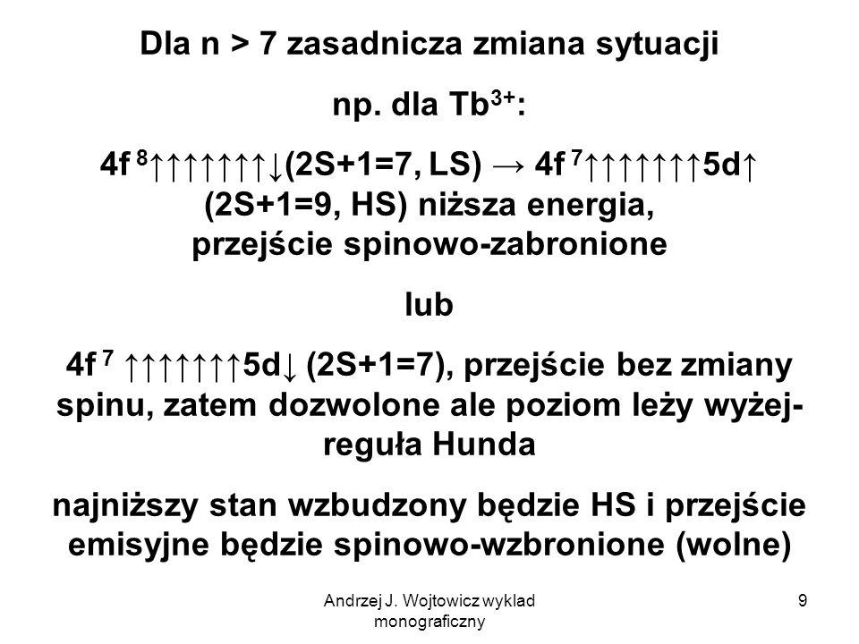 Andrzej J. Wojtowicz wyklad monograficzny 9 Dla n > 7 zasadnicza zmiana sytuacji np.