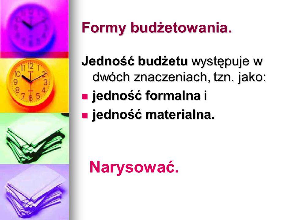 Formy budżetowania. Jedność budżetu występuje w dwóch znaczeniach, tzn. jako: jedność formalna i jedność formalna i jedność materialna. jedność materi