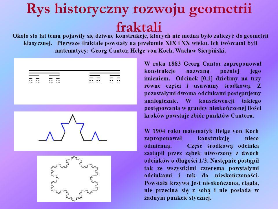 Rys historyczny rozwoju geometrii fraktali Około sto lat temu pojawiły się dziwne konstrukcje, których nie można było zaliczyć do geometrii klasycznej.