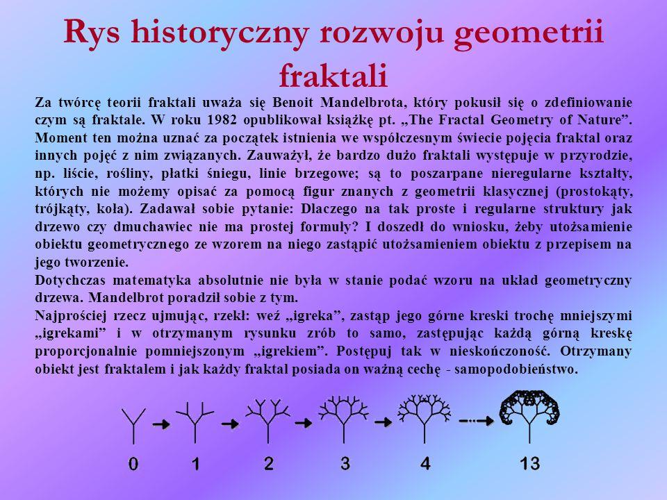 Rys historyczny rozwoju geometrii fraktali Za twórcę teorii fraktali uważa się Benoit Mandelbrota, który pokusił się o zdefiniowanie czym są fraktale.