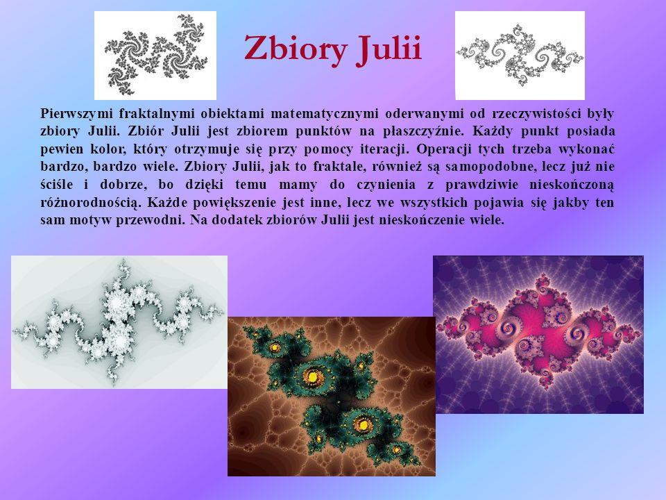 Zbiory Julii Pierwszymi fraktalnymi obiektami matematycznymi oderwanymi od rzeczywistości były zbiory Julii.