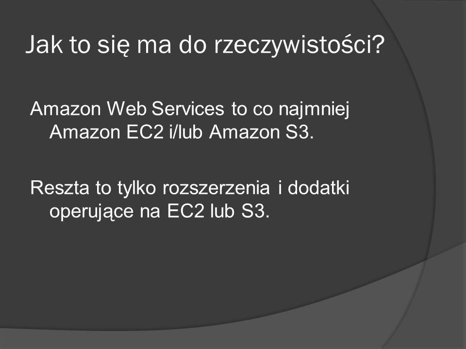 Jak to się ma do rzeczywistości. Amazon Web Services to co najmniej Amazon EC2 i/lub Amazon S3.