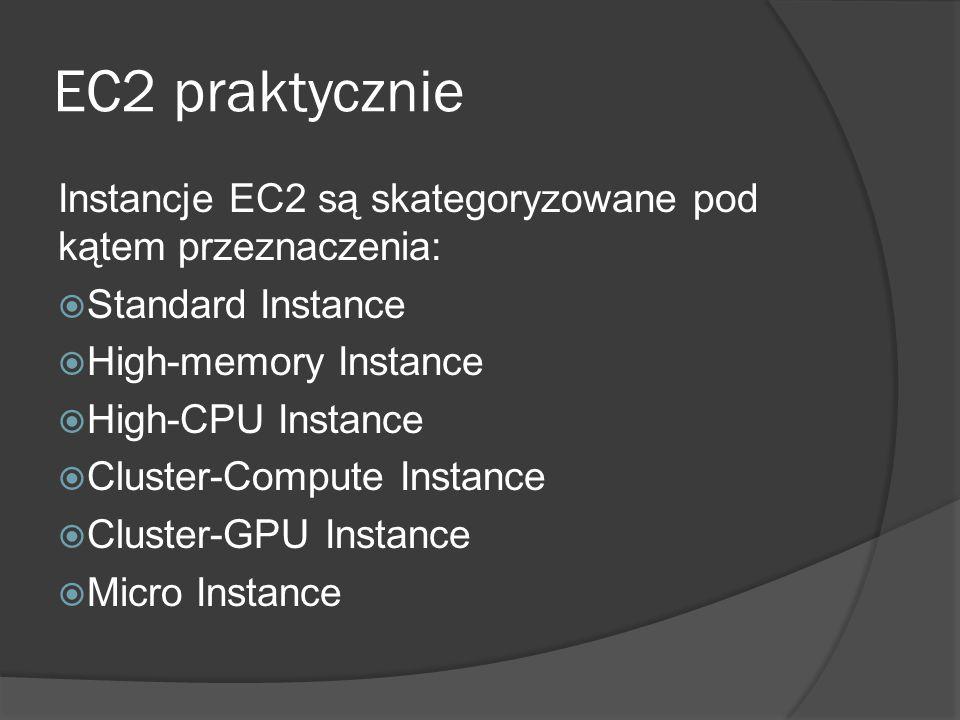 EC2 praktycznie Instancje EC2 są skategoryzowane pod kątem przeznaczenia:  Standard Instance  High-memory Instance  High-CPU Instance  Cluster-Compute Instance  Cluster-GPU Instance  Micro Instance