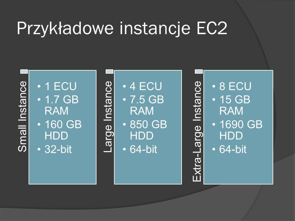 Przykładowe instancje EC2 Small Instance 1 ECU 1.7 GB RAM 160 GB HDD 32-bit Large Instance 4 ECU 7.5 GB RAM 850 GB HDD 64-bit Extra-Large Instance 8 ECU 15 GB RAM 1690 GB HDD 64-bit