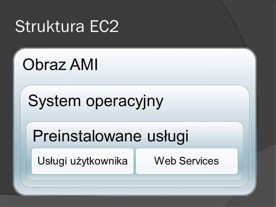 Struktura EC2 Obraz AMI System operacyjny Preinstalowane usługi Usługi użytkownikaWeb Services