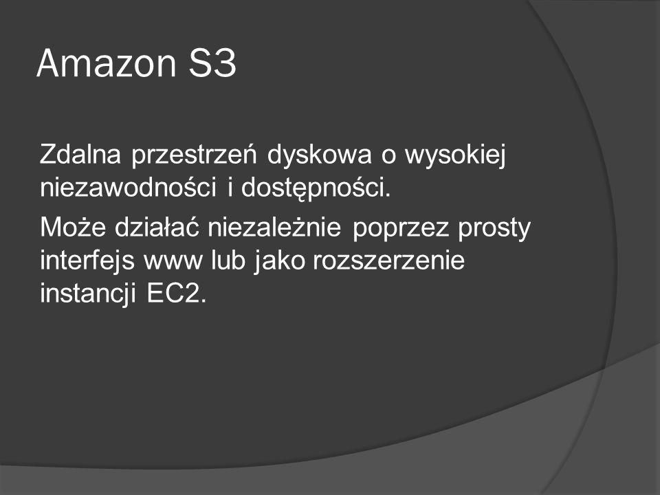 Amazon S3 Zdalna przestrzeń dyskowa o wysokiej niezawodności i dostępności.