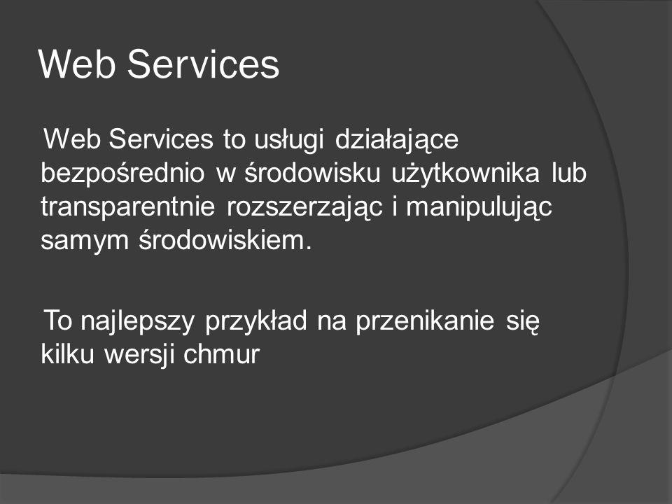 Web Services Web Services to usługi działające bezpośrednio w środowisku użytkownika lub transparentnie rozszerzając i manipulując samym środowiskiem.