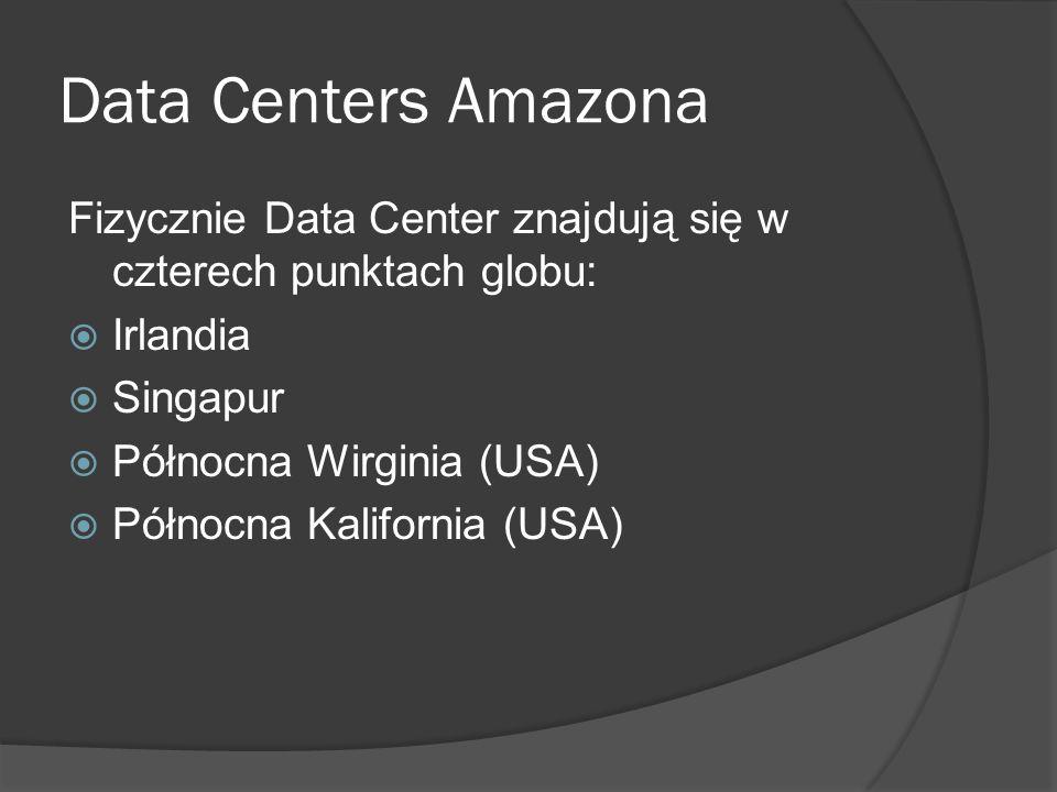 Data Centers Amazona Fizycznie Data Center znajdują się w czterech punktach globu:  Irlandia  Singapur  Północna Wirginia (USA)  Północna Kalifornia (USA)