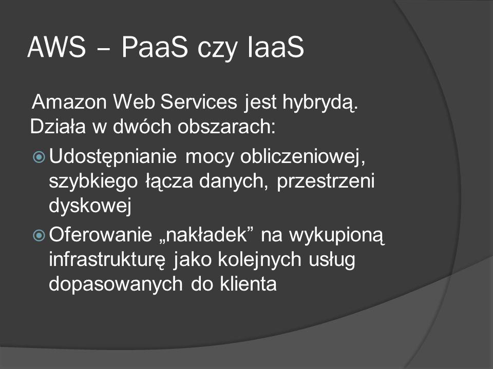 AWS – PaaS czy IaaS Amazon Web Services jest hybrydą.