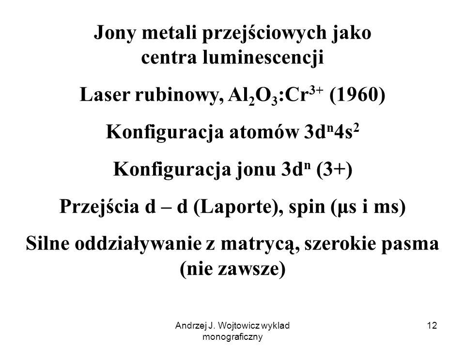 Andrzej J. Wojtowicz wyklad monograficzny 12 Jony metali przejściowych jako centra luminescencji Laser rubinowy, Al 2 O 3 :Cr 3+ (1960) Konfiguracja a