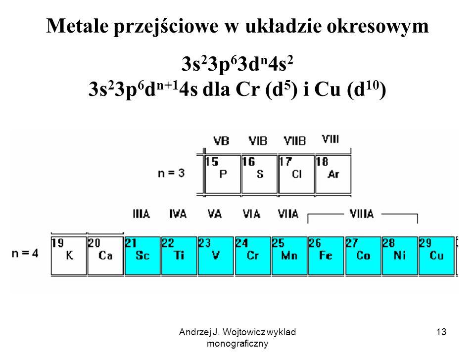 Andrzej J. Wojtowicz wyklad monograficzny 13 Metale przejściowe w układzie okresowym 3s 2 3p 6 3d n 4s 2 3s 2 3p 6 d n+1 4s dla Cr (d 5 ) i Cu (d 10 )
