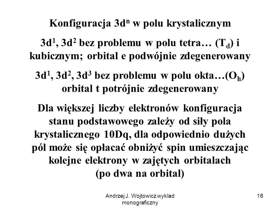 Andrzej J. Wojtowicz wyklad monograficzny 16 Konfiguracja 3d n w polu krystalicznym 3d 1, 3d 2 bez problemu w polu tetra… (T d ) i kubicznym; orbital