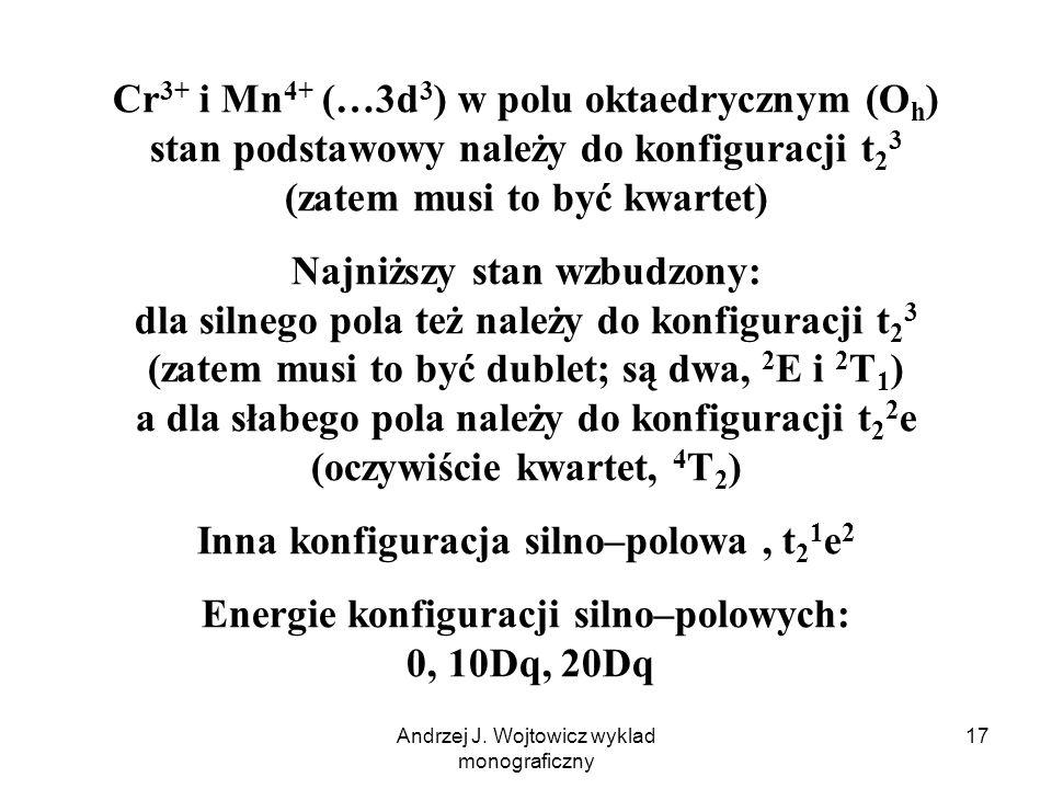 Andrzej J. Wojtowicz wyklad monograficzny 17 Cr 3+ i Mn 4+ (…3d 3 ) w polu oktaedrycznym (O h ) stan podstawowy należy do konfiguracji t 2 3 (zatem mu