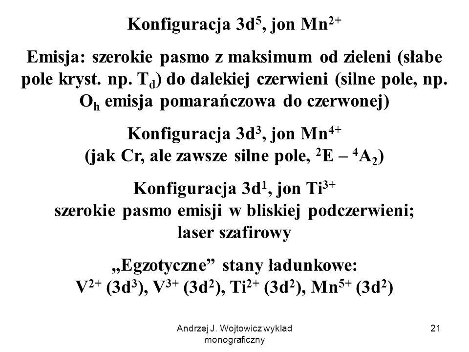Andrzej J. Wojtowicz wyklad monograficzny 21 Konfiguracja 3d 5, jon Mn 2+ Emisja: szerokie pasmo z maksimum od zieleni (słabe pole kryst. np. T d ) do