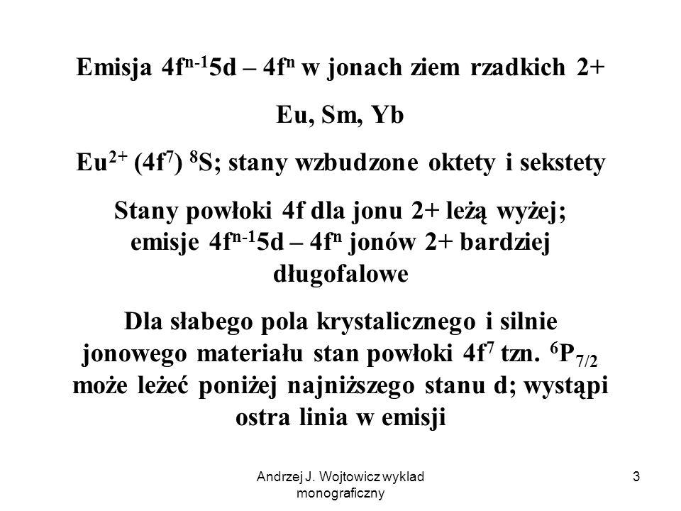 Andrzej J. Wojtowicz wyklad monograficzny 3 Emisja 4f n-1 5d – 4f n w jonach ziem rzadkich 2+ Eu, Sm, Yb Eu 2+ (4f 7 ) 8 S; stany wzbudzone oktety i s