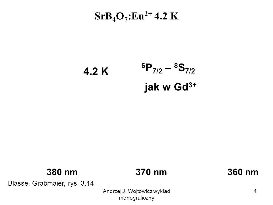 Andrzej J. Wojtowicz wyklad monograficzny 4 SrB 4 O 7 :Eu 2+ 4.2 K 380 nm 370 nm 360 nm 4.2 K 6 P 7/2 – 8 S 7/2 jak w Gd 3+ Blasse, Grabmaier, rys. 3.