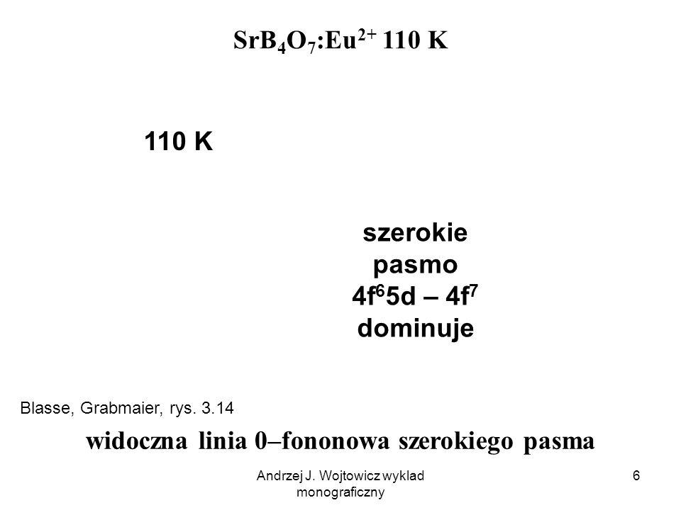 Andrzej J. Wojtowicz wyklad monograficzny 6 SrB 4 O 7 :Eu 2+ 110 K szerokie pasmo 4f 6 5d – 4f 7 dominuje 110 K widoczna linia 0–fononowa szerokiego p