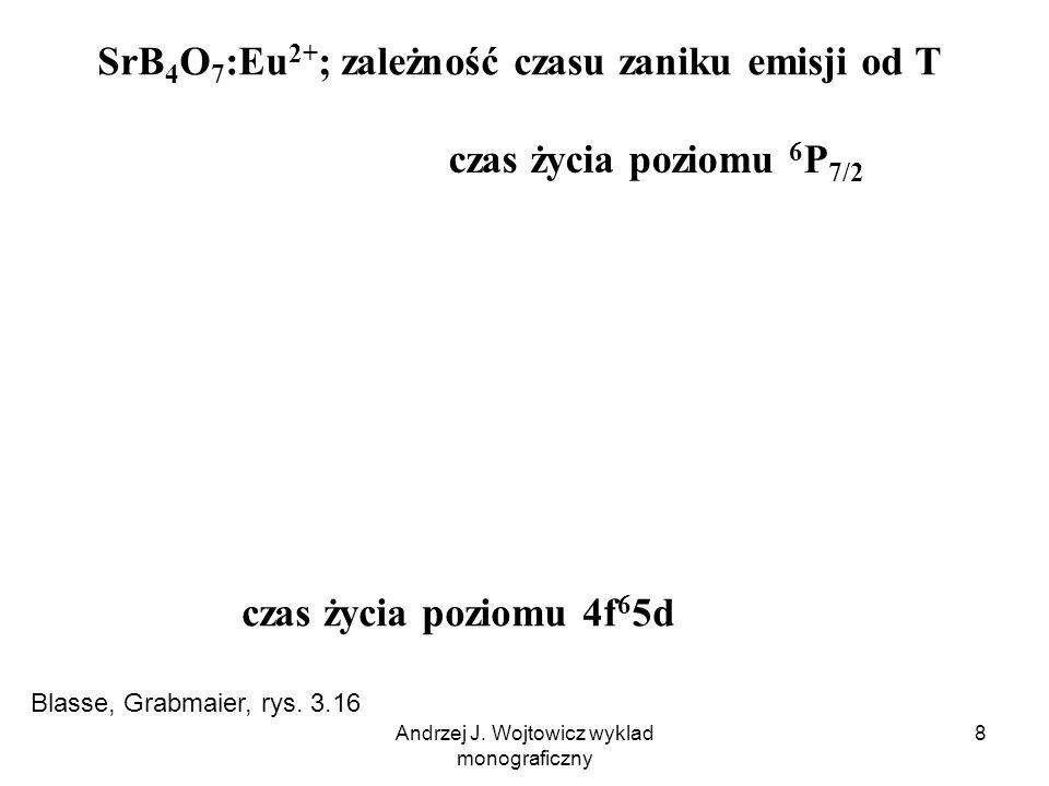 Andrzej J. Wojtowicz wyklad monograficzny 8 SrB 4 O 7 :Eu 2+ ; zależność czasu zaniku emisji od T czas życia poziomu 6 P 7/2 czas życia poziomu 4f 6 5