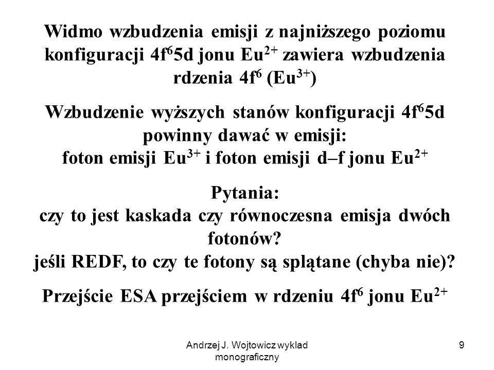Andrzej J. Wojtowicz wyklad monograficzny 9 Widmo wzbudzenia emisji z najniższego poziomu konfiguracji 4f 6 5d jonu Eu 2+ zawiera wzbudzenia rdzenia 4