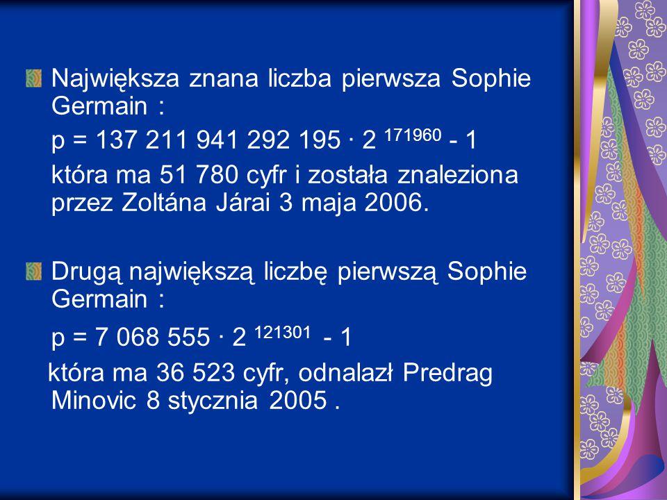 Największa znana liczba pierwsza Sophie Germain : p = 137 211 941 292 195 · 2 171960 - 1 która ma 51 780 cyfr i została znaleziona przez Zoltána Járai