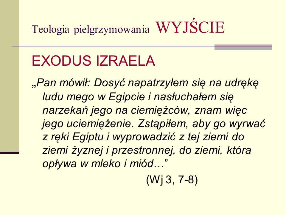 """Teologia pielgrzymowania WYJŚCIE EXODUS IZRAELA """" Pan mówił: Dosyć napatrzyłem się na udrękę ludu mego w Egipcie i nasłuchałem się narzekań jego na ciemiężców, znam więc jego uciemiężenie."""