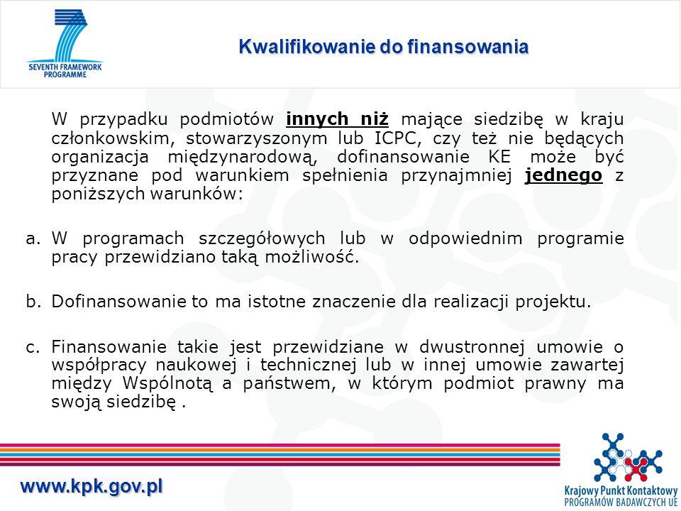 www.kpk.gov.pl Kwalifikowanie do finansowania W przypadku podmiotów innych niż mające siedzibę w kraju członkowskim, stowarzyszonym lub ICPC, czy też nie będących organizacja międzynarodową, dofinansowanie KE może być przyznane pod warunkiem spełnienia przynajmniej jednego z poniższych warunków: a.W programach szczegółowych lub w odpowiednim programie pracy przewidziano taką możliwość.