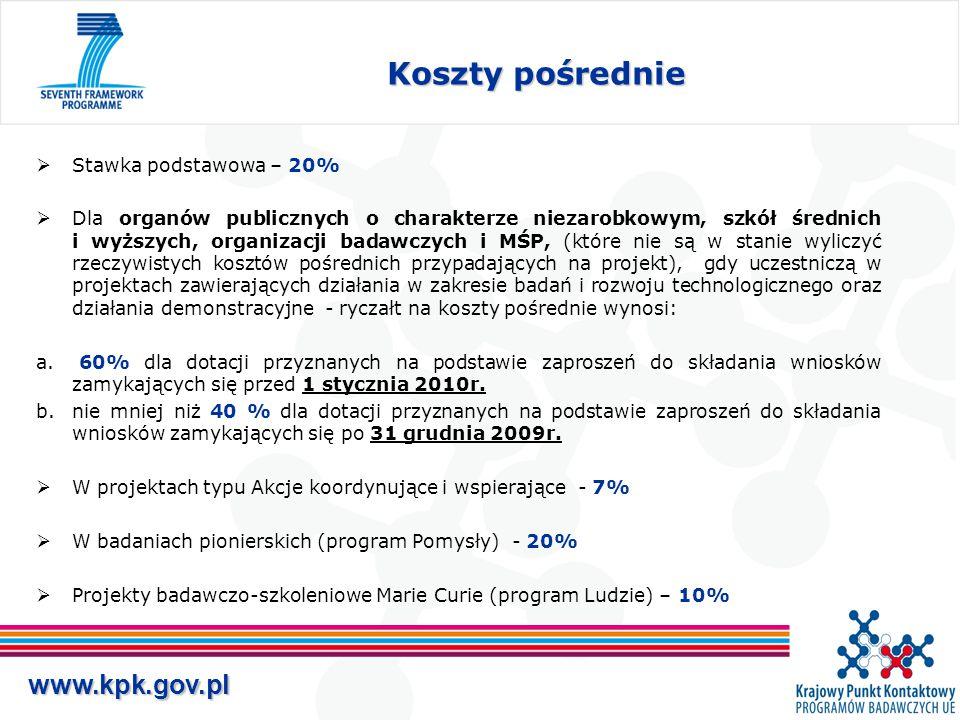 www.kpk.gov.pl Koszty pośrednie  Stawka podstawowa – 20%  Dla organów publicznych o charakterze niezarobkowym, szkół średnich i wyższych, organizacji badawczych i MŚP, (które nie są w stanie wyliczyć rzeczywistych kosztów pośrednich przypadających na projekt), gdy uczestniczą w projektach zawierających działania w zakresie badań i rozwoju technologicznego oraz działania demonstracyjne - ryczałt na koszty pośrednie wynosi: a.