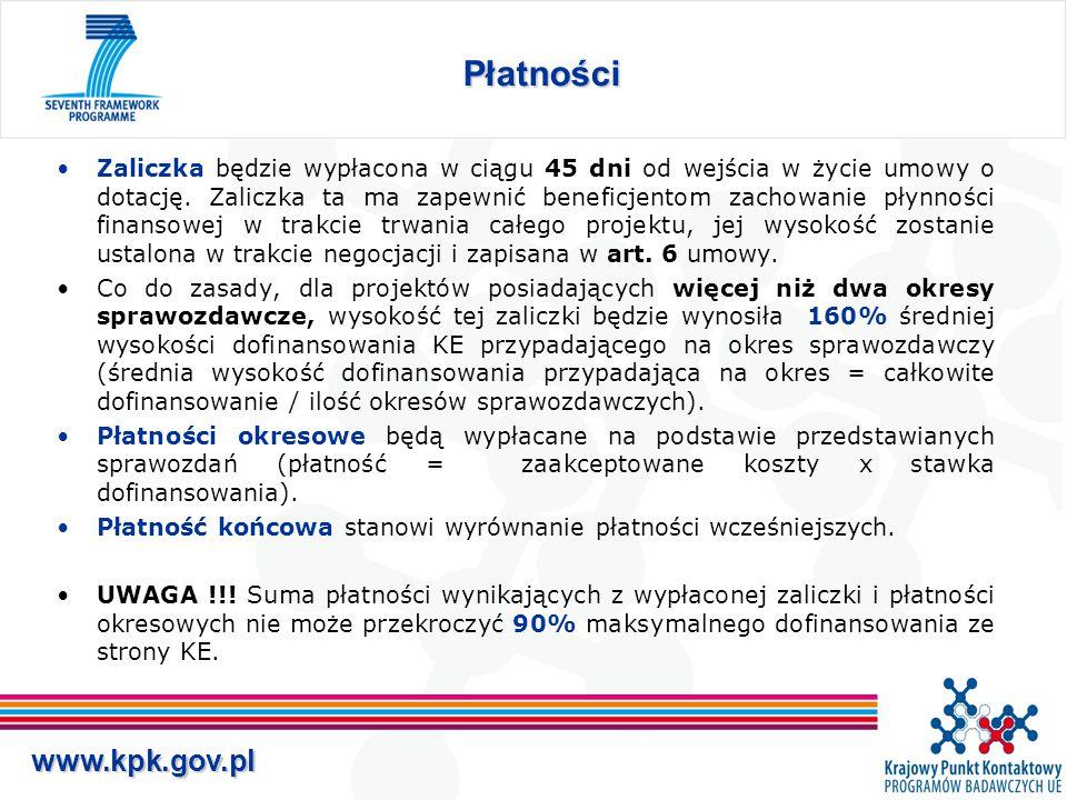 www.kpk.gov.pl Płatności Zaliczka będzie wypłacona w ciągu 45 dni od wejścia w życie umowy o dotację.