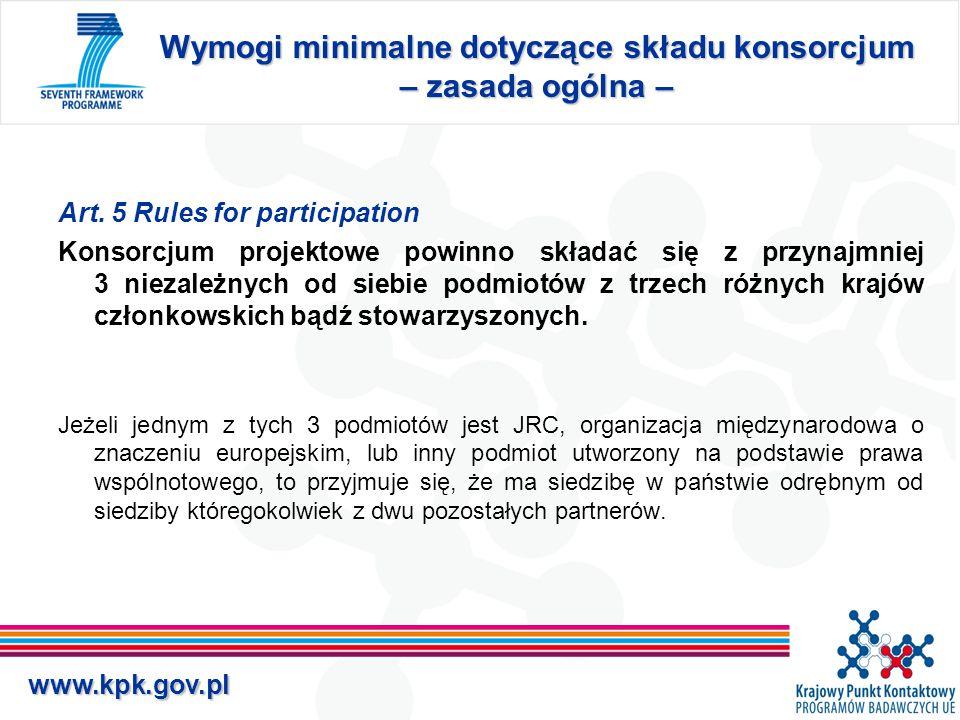 www.kpk.gov.pl Wymogi minimalne dotyczące składu konsorcjum – zasada ogólna – Art.