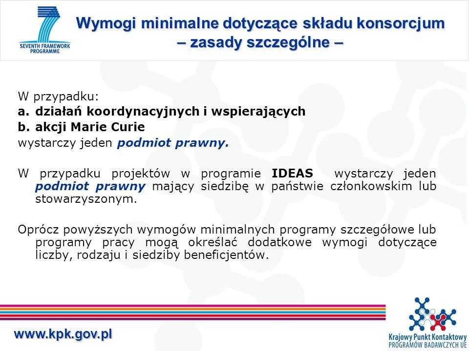 www.kpk.gov.pl Formalne podstawy realizacji projektu Grant Agreement – umowa zawierana między Komisją Europejską i wszystkimi beneficjentami (uczestnikami), określa wzajemne prawa i obowiązki pomiędzy: –Komisją i beneficjentami, –Beneficjentami wzajemnie.